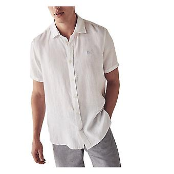 Crew Clothing Short Sleeve Linen Shirt - Optic White
