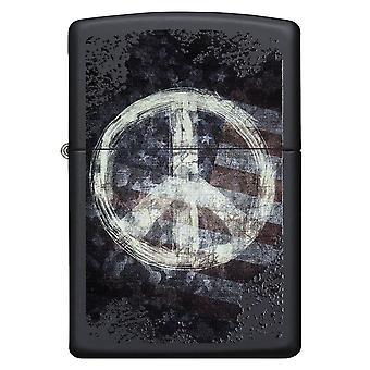 Frieden auf Fahne schwarze Matte Zippo Lighter