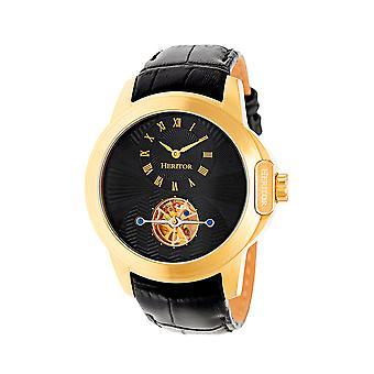 Heritor Automatic Windsor Semi-Skeleton Leather-Band Watch - Gold/Black