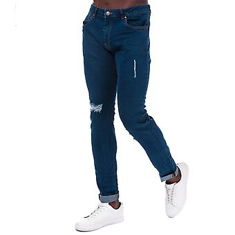 Mens Ringspun zeus strappato Skinny Fit Jeans in blu- zip Fly- cinque Pocket Design-