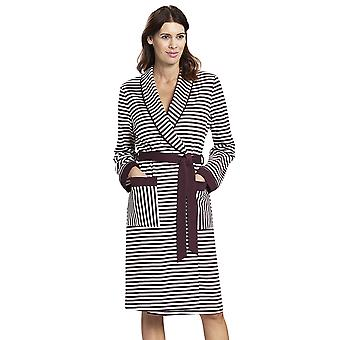 Rösch 1193511-12600 Women's Smart Casual Ruby Red Striped Cotton Robe
