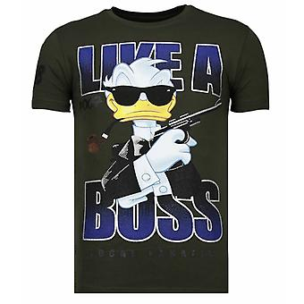 Like A Boss-Rhinestone T-shirt-Khaki