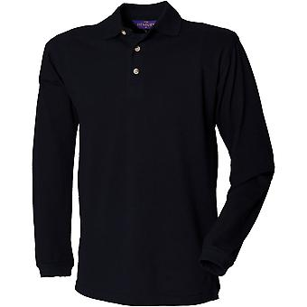 Henbury - Mens Long Sleeve Cotton Polo Shirt