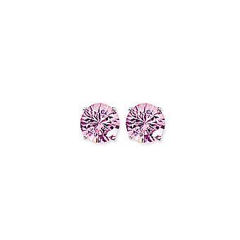Jewelco London Rhodium Plated Sterling Silver Pink Round Brilliant Cubic Zirconia 4 Claw Solitaire Stud Earrings 9mm