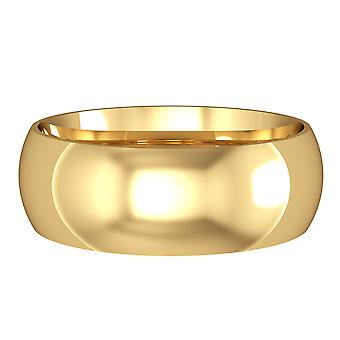 Jewelco London 9ct Yellow Gold - 7mm Essential Court-Shaped Band Impegn / Anello di nozze