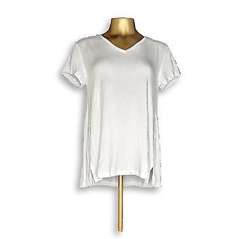 H by Halston Women's Top Essentials V-Neck Tee White A306231 #5