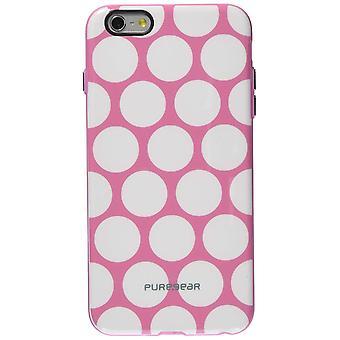Puregear motiv fallet för iPhone 6 Plus/6S Plus-rosa/vit prick
