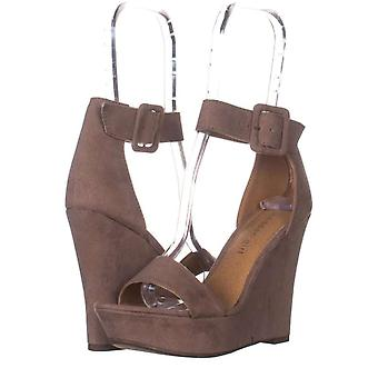 Madden Girl Womens Lambie Fabric Open Toe Ankle Strap Wedge Pumps