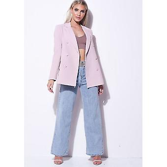 Double Breasted Tailored Longline Blazer Rose