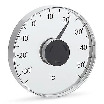 Window thermometer stainless steel matt, combined with plastic/acrylic
