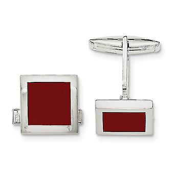 925 Sterling Silver Polished Red Agate Cuff Links Jewelry Gifts for Men