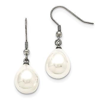 Stainless Steel Shell Bead Dangle Polished Shepherd Hook Earrings