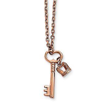 Edelstahl poliert Rose Ip Schlüssel und Krone mit 2 Zoll extern Halskette - 15,5 Zoll