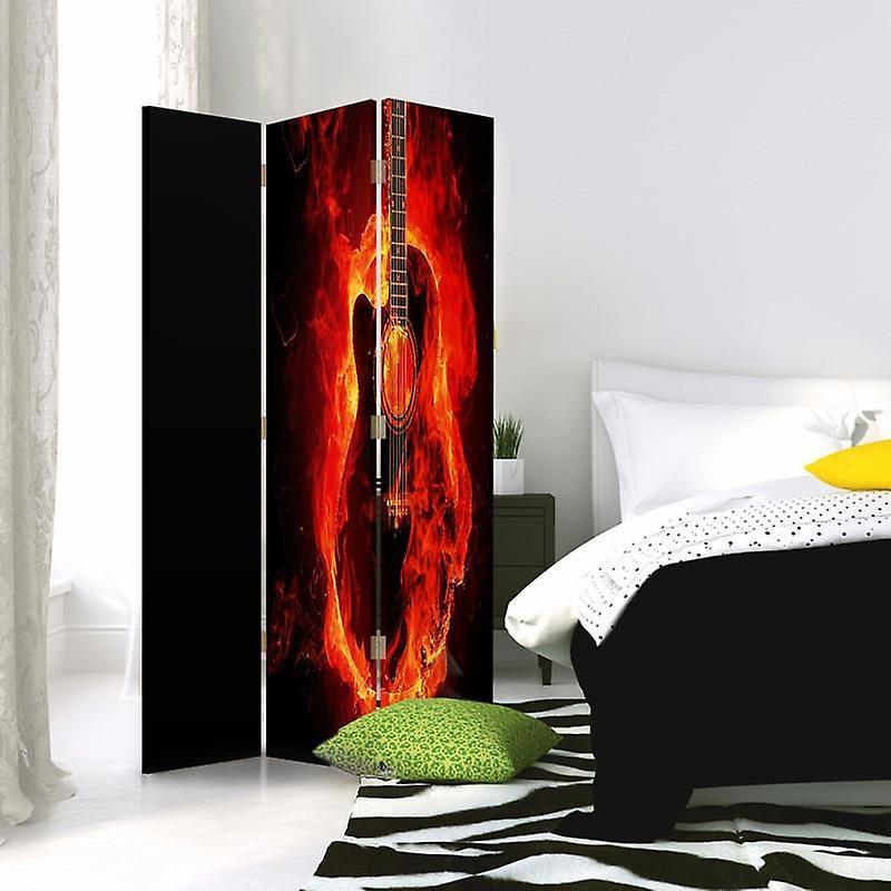 Diviseur de chambre, 3 panneaux, à un seul côté, toile, guitare brûlante