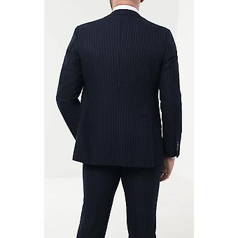 Loch Hart Mens Navy 3 Piece Suit Bold Chalk Stripe