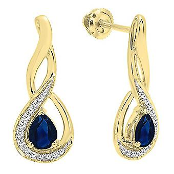 Dazzlingrock Collection 18K 5X4 MM Each Pear Blue Sapphire & Round Diamond Infinity Drop Earrings, Yellow Gold