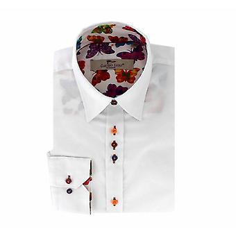 CLAUDIO LUGLI DAMKLÄDER Plain White Ladies Shirt med Butterfly Detaljer