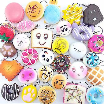 20 Pack Squishy Toys - 20 Random Squishies Pack Jumbo - Medium And Mini Soft Squishy Cake Panda Bread Buns Phone Charms