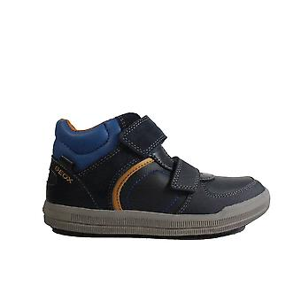 Geox Arzach J844AB Navy Leather Boys Rip Tape Ankle Boot