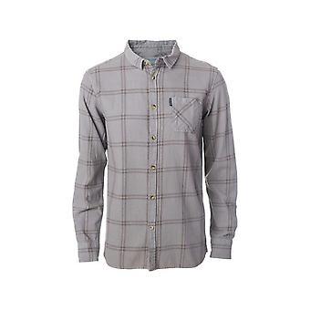 مزق حليقة تحقق قميص طويل الأكمام قميص في حمامة رمادي