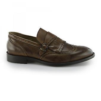 Hudson Brunswick Mens Couro Brogue Monk Sapatos Conhaque