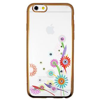 Hull For iPhone 6 / 6s Transparent Flowers And Strass
