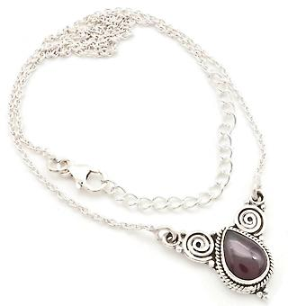 Garnet Necklace 925 Silver Sterling Silver Necklace Red (MCO 09-02)