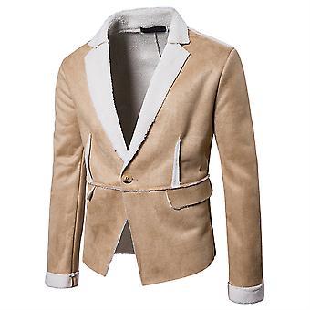 Allthemen الرجال & apos;ق سترة بدلة الشتاء سميكة معطف طية دافئ