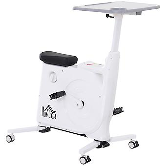 HOMCOM Collapsing Box Exercise Bike Compact Indoor Cycling Home Office w/ LCD Screen Desk Board White