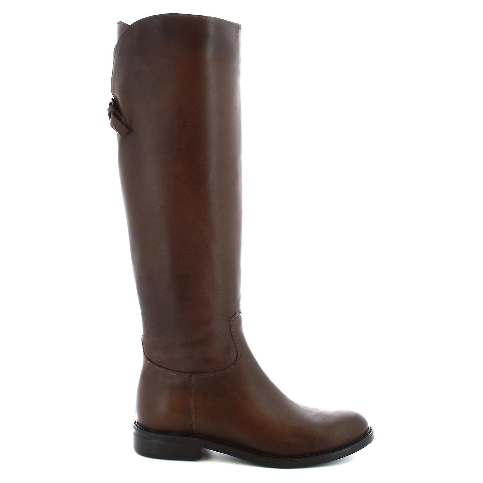 Leonardo Shoes Women's handmade boots in dark brown calf leather side zip