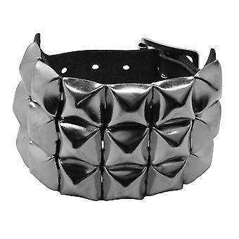 Bullet 69 Black 3 Row Pyramid Studded Leather Wristband
