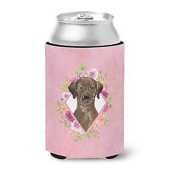 Chocolate Labrador Pink Flowers Can or Bottle Hugger