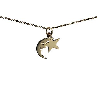 9ct Gold 11x15mm half Moon and Star Pendant with a 1.1mm wide cable Chain 20 inches