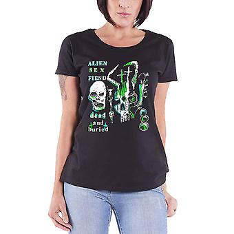 Alien Sex Fiend T Shirt Dead And Buried new Official Womens Skinny Fit Black