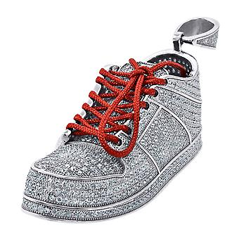 925 Sterling Silver Mens CZ Cubic Zirconia Simulated Diamond Sneaker With Red Lace Fashion Pendant Necklace Charm Jewelr