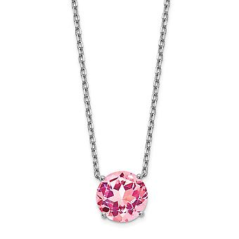 925 Sterling Silver Rhodium plated Pink Crystal With 2inch Ext. Necklace 16.5 Inch Jewelry Gifts for Women