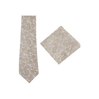 JSS Cream And Gold Paisley Tie And Pocket Square Set