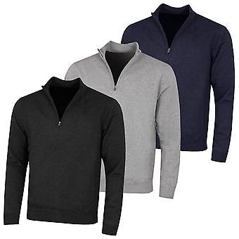 Greg Norman Mens Bonded Fleece Lined Windproof 1/4 Zip Golf Sweater