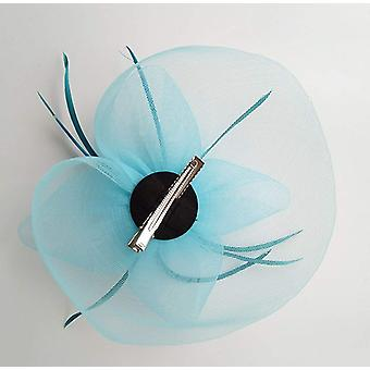 Kentucky Derby Fascinator Hair Clip Hat Feather Prom, Blue, Size One Size