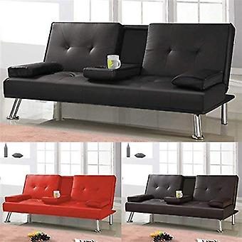 Modern Faux Leather Sofa Beds 3 Seater with Cup Holders Click Clack Sleeper Sofa for Guest Room Brown