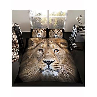 Couverture de couette de lion et ensemble de taie d'oreiller