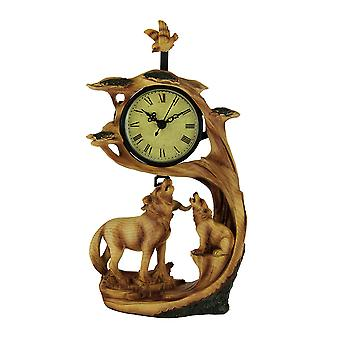 Wolf Family Safari Carved Wood Look Clock Figurine
