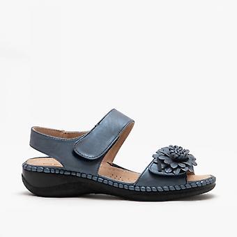 Boulevard Roselin Ladies Floral Brooch Heeled Sandals Navy Blue Metallic