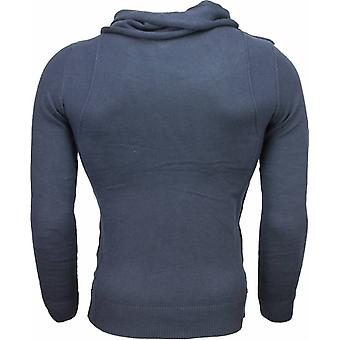 Casual sweater-Trendy shawl collar men-Blue
