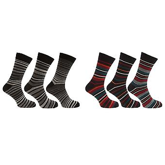 Pierre Roche Mens Cotton Rich Stripe Design Socks (Pack Of 3)