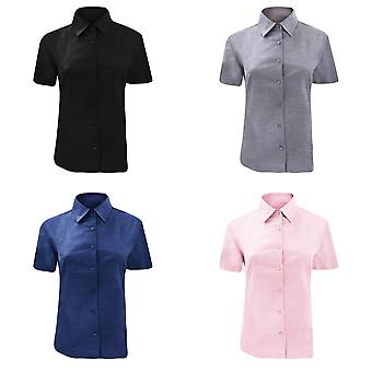 Russell Collection Ladies/Womens Short Sleeve Easy Care Oxford Shirt
