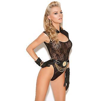 Womens Black Lace Teddy Bodysuit Neck Closure Lingerie