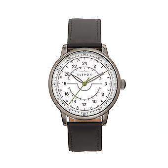 Elevon Gauge Leather-Band Watch - Gunmetal/Black