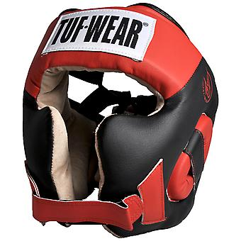 Tuf Wear Headguard with Cheek Synthetic Leather Black/Red