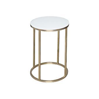 Gillmore weiß Glas und Gold Metall zeitgenössische ncircular Beistelltisch